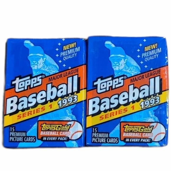 2 UNOPENED Pks Topps '93 MLB Series 1 Cards